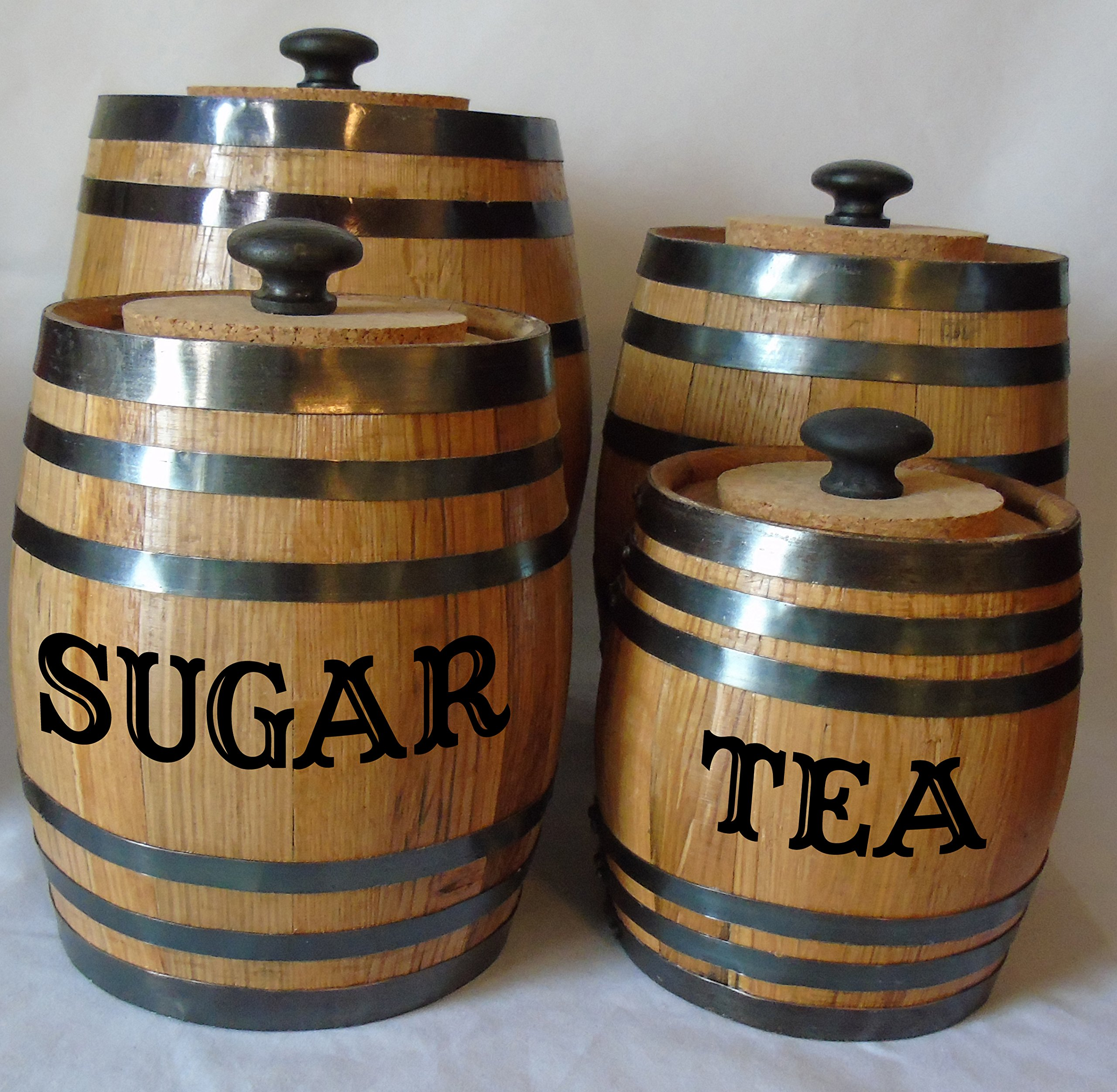 Personalized Authentic Oak Barrel Kitchen Canister Set by Red Head Barrels