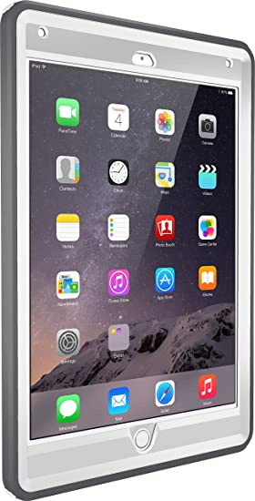 buy popular fc861 a1caf OtterBox DEFENDER SERIES Case for iPad Air 2 - Retail Packaging - GLACIER  (WHITE/GUNMETAL GREY)
