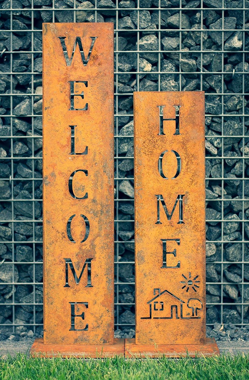 SteelTastic 'Welcome + Home–Oxidado Soporte 2Unidades ★ Oxidado (Perfecto para el Jardín, hogar Entrada o terraza ★ Premium Calidad Fabricado en Alemania