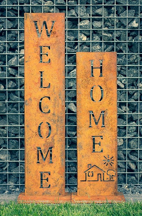 SteelTastic Welcome + Home – Oxidado Soporte 2 Unidades ★ Oxidado (Perfecto para el Jardín, hogar Entrada o terraza ★ Premium Calidad Fabricado en ...