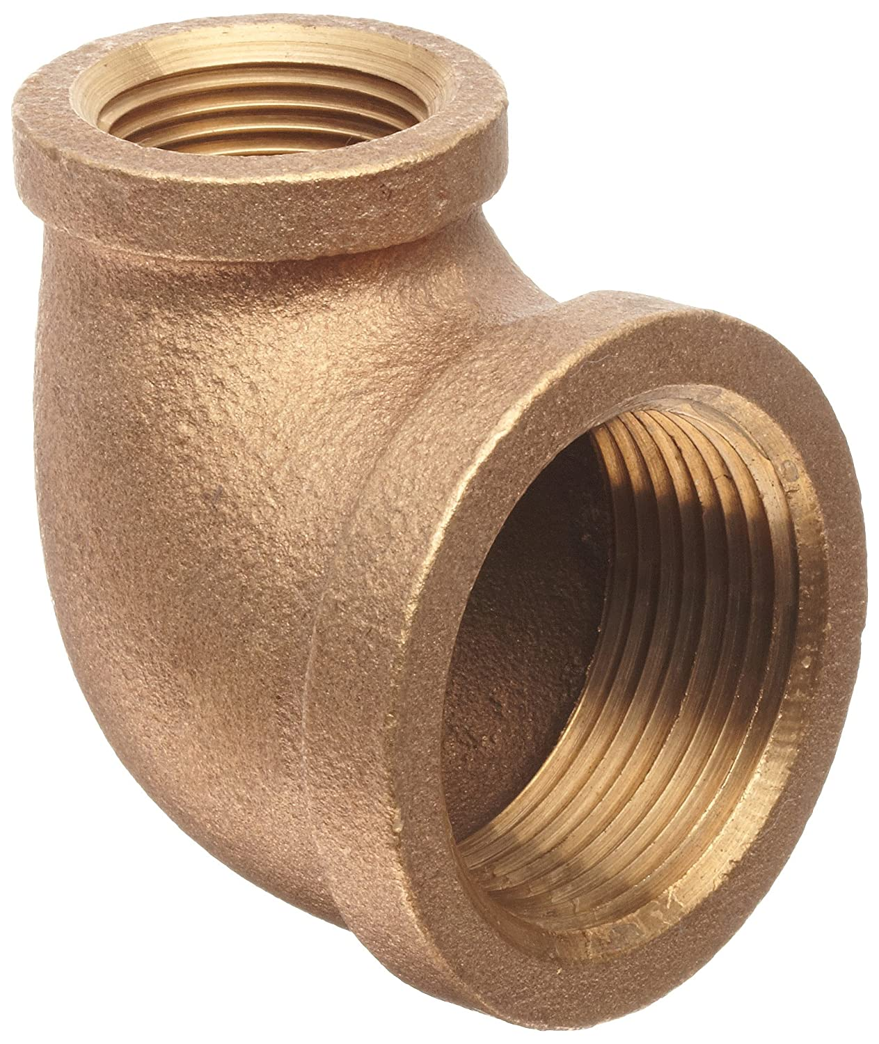 """Anderson Metals 38105-1206 Brass Pipe Fitting, 90 Degree Reducing Elbow, 3/4"""" Female x 3/8"""" Female"""