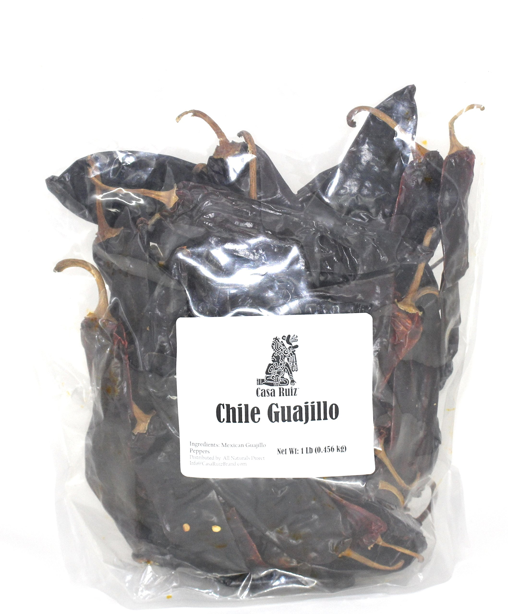 Chile Guajillo Mexican Guajillo Peppers 1 Lb Resealable Bag Casa Ruiz Brand Dried Whole Mirasol Chili Pods – Mild to Medium Heat – Sweet Spicy Tangy Fruity Pleasant Flavor Mexicano Travieso