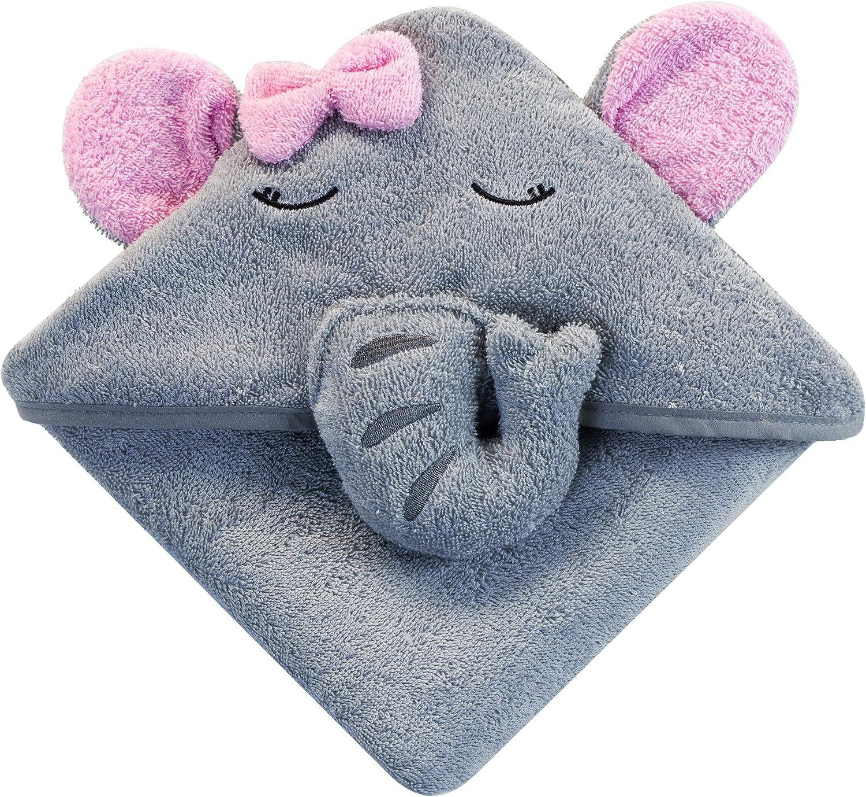 Baby Toalla con Capucha y Elefante para Bebé, Toalla de Baño Bebé, Capa de Baño Bebé Infantil, Toalla Bebe Recien Nacido, Regalo Niñas, Gris