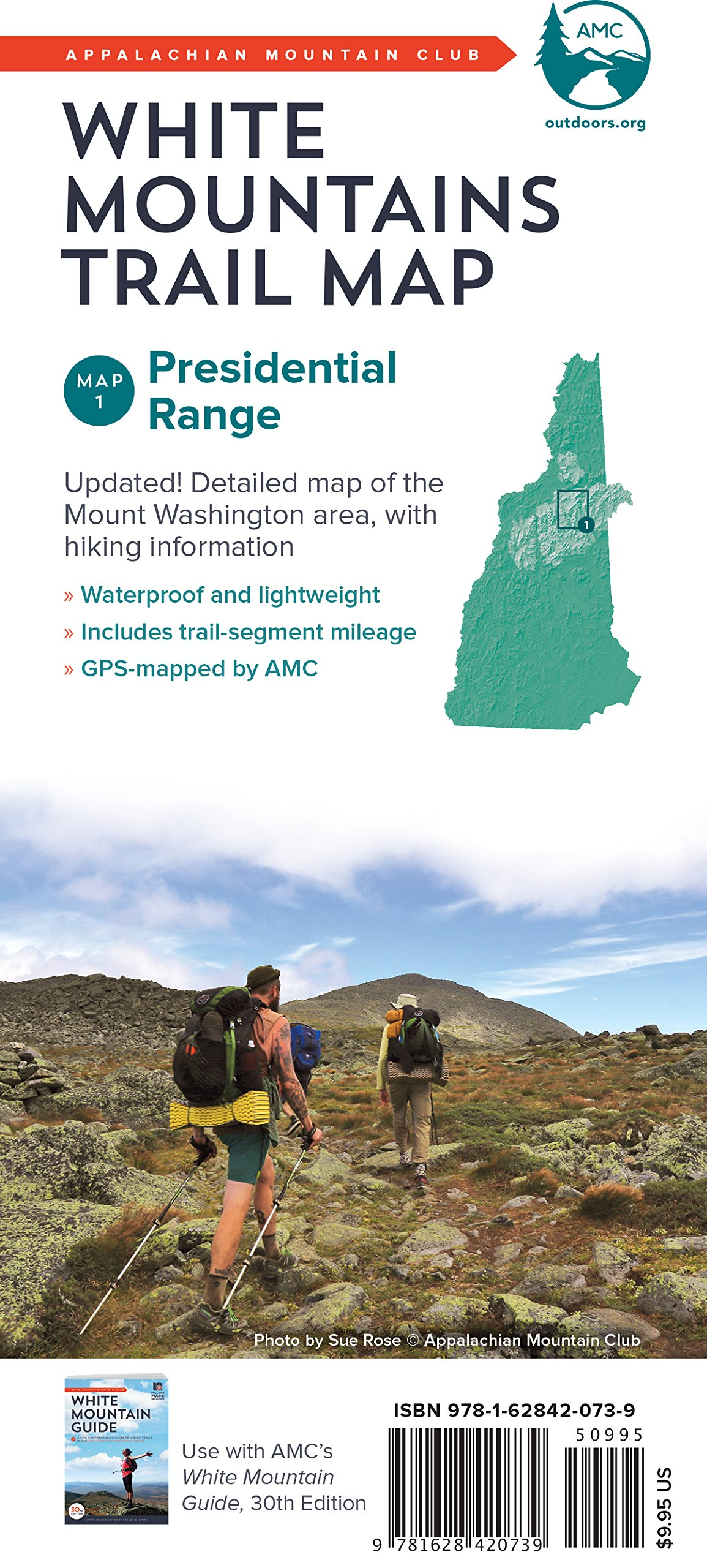 AMC White Mountains Trail Map 1: Presidential Range ...