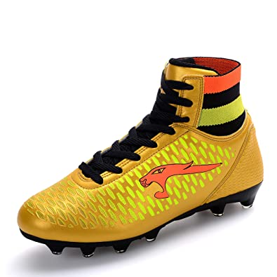f442eb340dd WEJIESS Boy s Men s Turf High Top Cleats Soccer Shoes Lightweight Sock Ankle  Care Athletic Football Lace