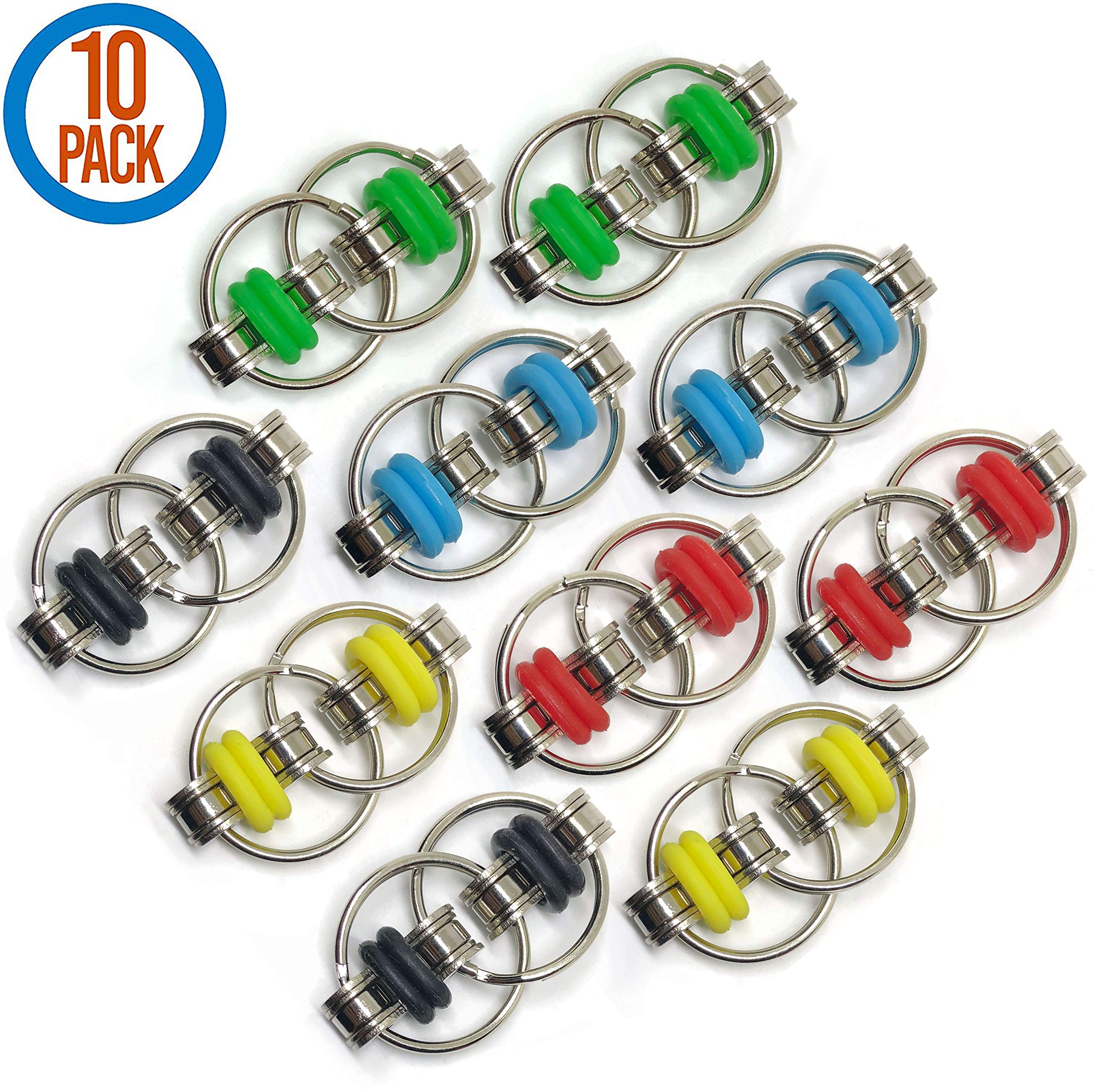 Fidget Toy Flippy Chain - Stress Relief Perfect for ADHD, ADD, Anxiety in Classroom or Office for Students, Kids or Adults Stocking Stuffers Gifts for Him or Her in Bulk (10 Pack)