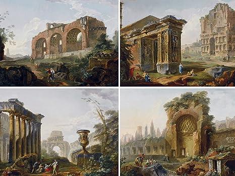 Ruin by hubert robert colonna pilastro arco accent adesivo per