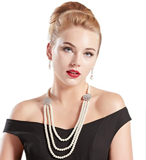 1950s Jewelry Styles and History BABEYOND 1920s Gatsby Pearl Necklace Vintage Bridal Pearl Necklace Earrings Jewelry Set Multilayer Imitation Pearl Necklace with Brooch $13.99 AT vintagedancer.com