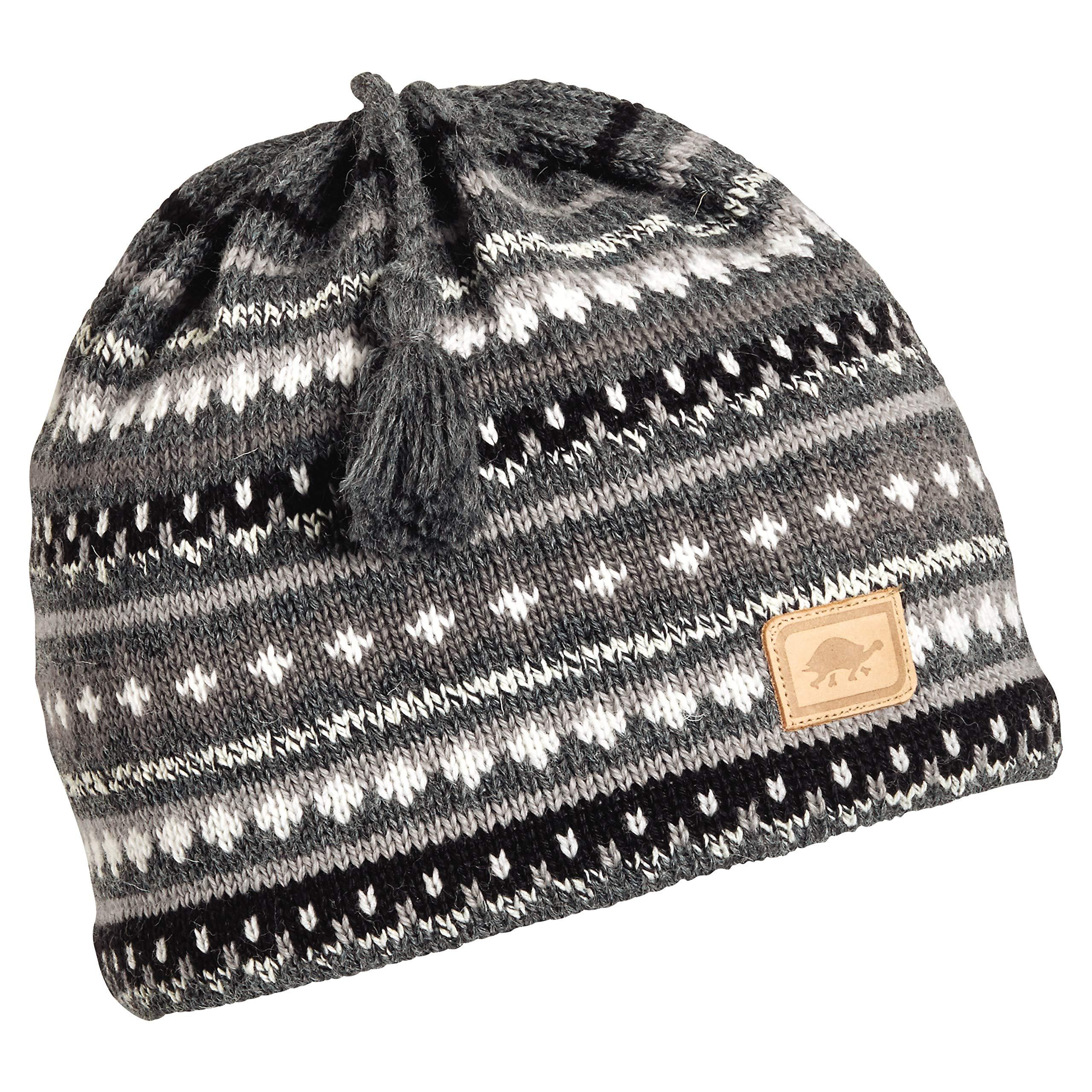 Turtle Fur S'More Women's Wool Knit Classic Ski Hat Tassel Beanie Charcoal Heather