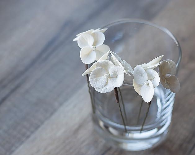 Amazon white flower hair pins hydrangea hair pins bridal white flower hair pins hydrangea hair pins bridal hair pins wedding flower pins mightylinksfo