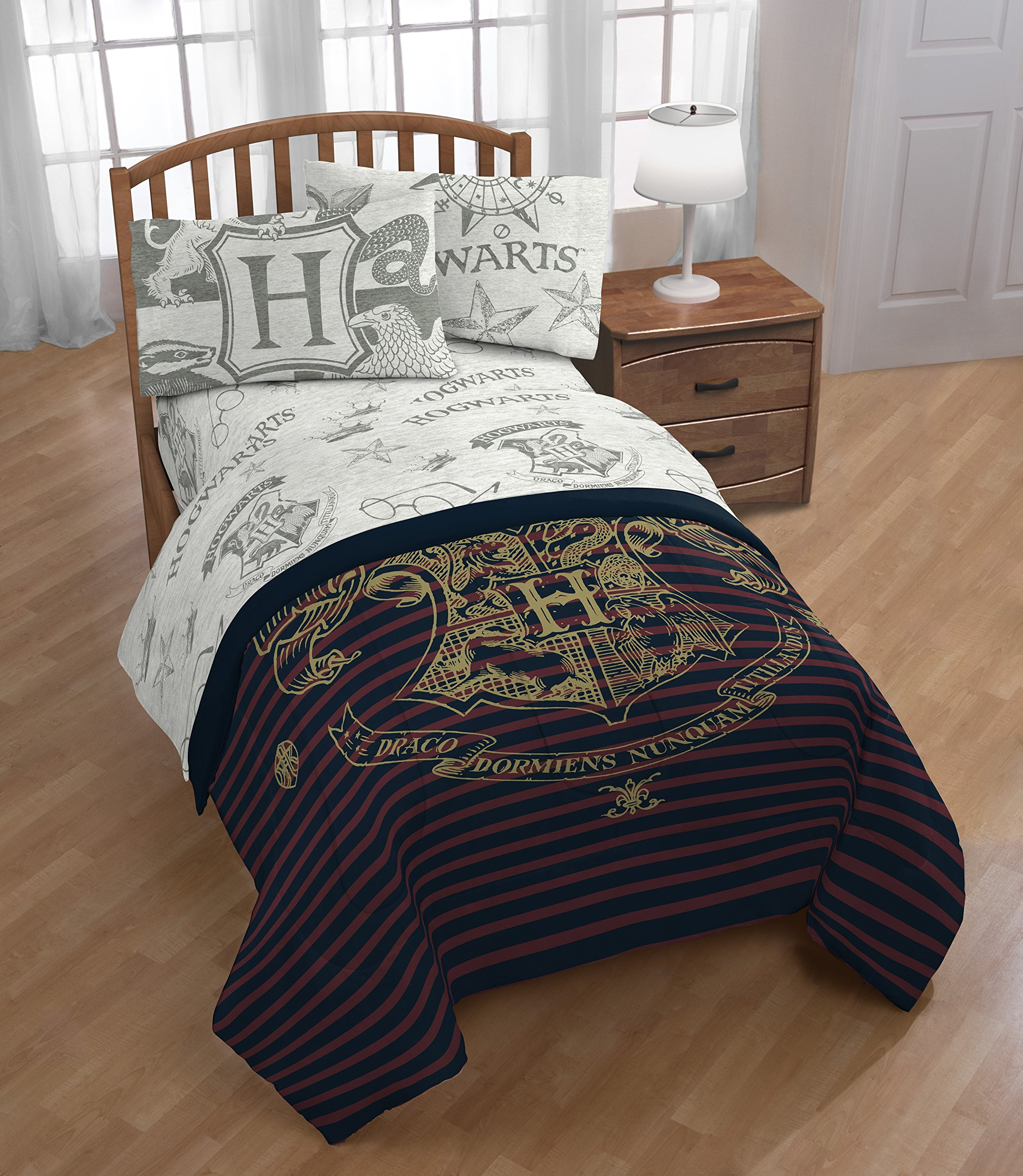 A&L 3 Piece Kids Grey Harry Potter Sheet Set Twin, Navy Hogwarts Bedding Star Crown Bed Sheets Birds Animal Stripe Print Glasses Novel Trendy Adventure Soft Cozy Red Gray Durable, Polyester