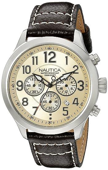 Nautica NAD14518G - Reloj de Pulsera Hombre, Color Beige: Amazon.es: Relojes