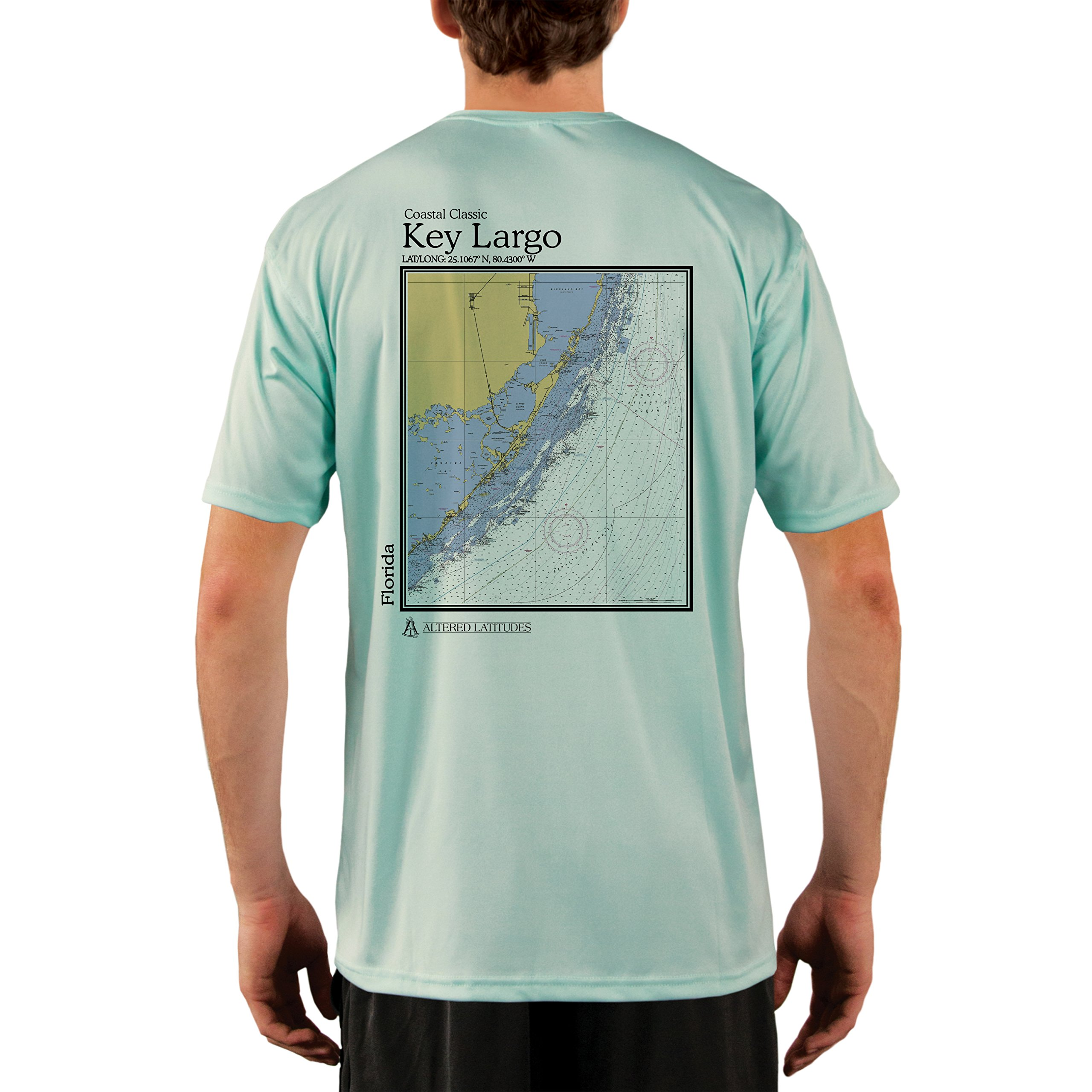 Altered Latitudes Coastal Classics Key Largo Chart Men's UPF 50+ Short Sleeve T-Shirt Large Seagrass by Altered Latitudes