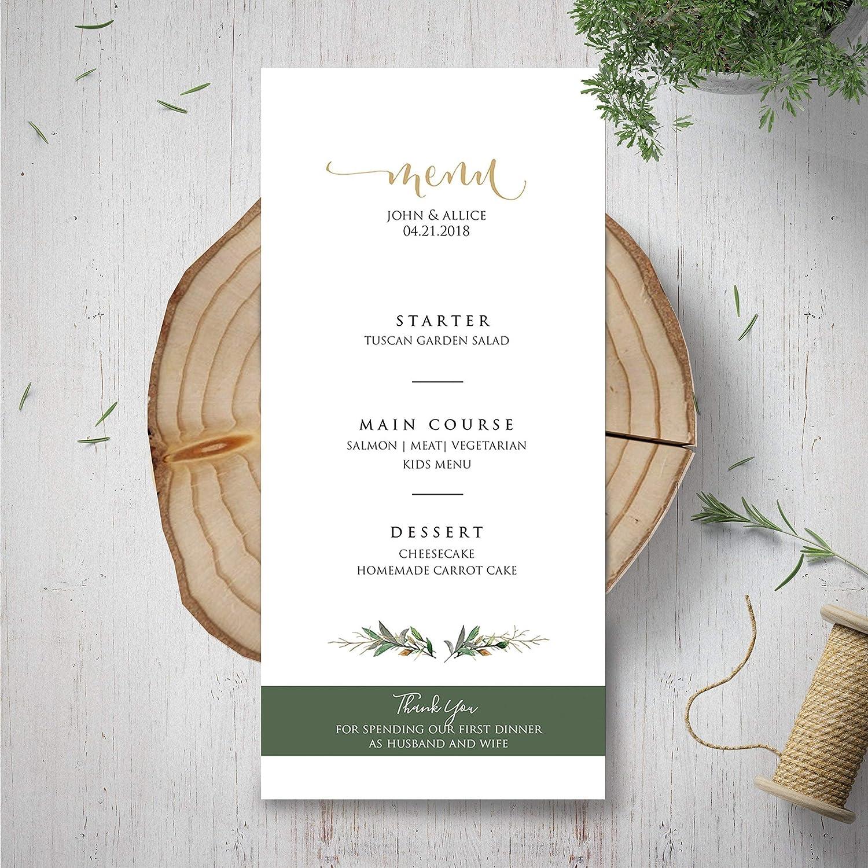 Amazon Com Wedding Menu Template Green Menu Card Garden Rustic Wedding Dinner Menu Custom Green And White Wedding Menu Card Botanical Wedding Menu Handmade