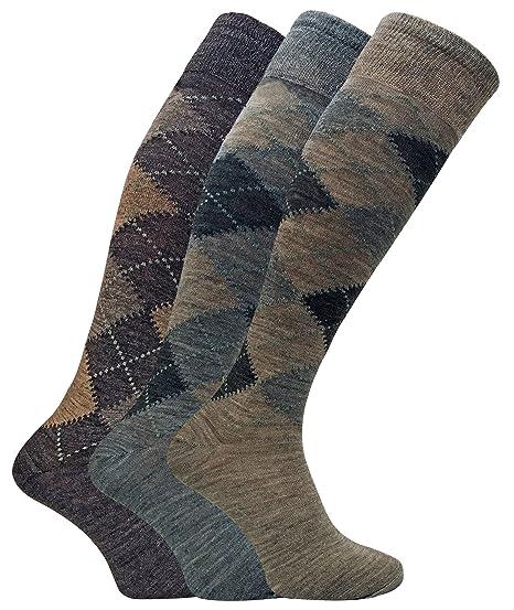 Sock Snob 3 pares hombre altos/largos termicos invierno finos calcetines lana con rombos (