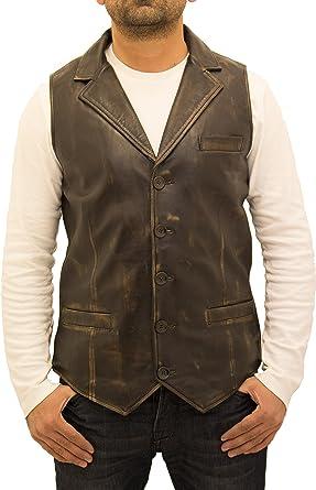 A to Z Leather Hombres Negro Frotar Fuera de Estilo Vintage ...