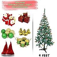 Zest 4 Toyz 4 Feet Christmas Tree with 2 Santa Cap & 100 Pcs Tree Decoration Set for Christmas Home Decor (Balls, Bells, Gifts, Drums, Candy Sticks & Santa Claus)