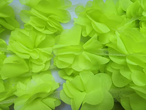 YYCRAFT 5 Yards 2.5 3D Chiffon Flower Lace Trims Bridal Bouquets Cluster Flower DIY Sewing Coral