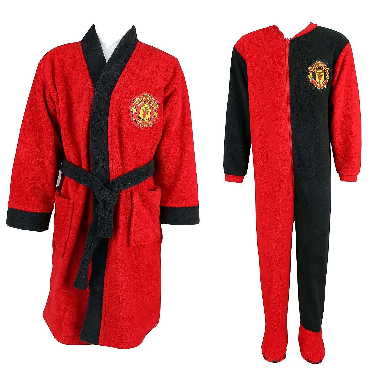Kids Boys Manchester United Dressing Gown Pyjama and Man Utd Sleepsuit Onesie Set