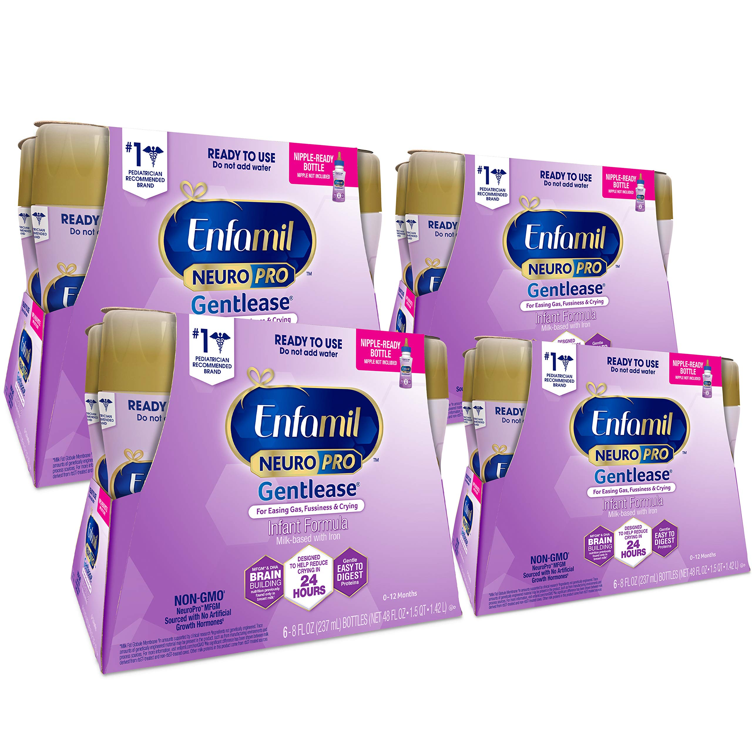 Enfamil NeuroPro Gentlease Ready to Use Baby Formula, Brain & Immune Support, Clinically Proven to Reduce Fusiness, Gas, Crying in 24 Hours, 8 Fl Oz Bottles (6 count) (Pack of 4), Total 24 bottles