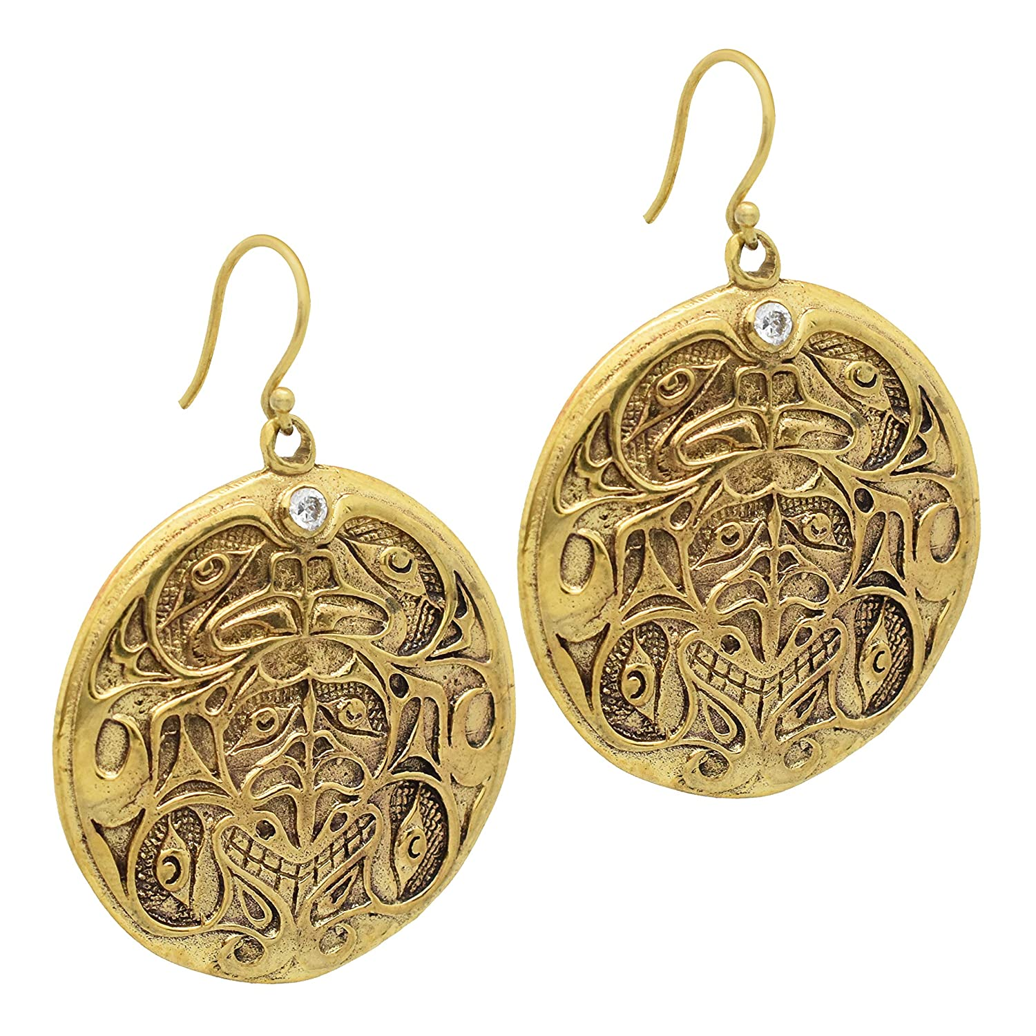 The V Collection earrings white c.z carving dangling earrings yellow gold plated fashion jewelry for women /& girls