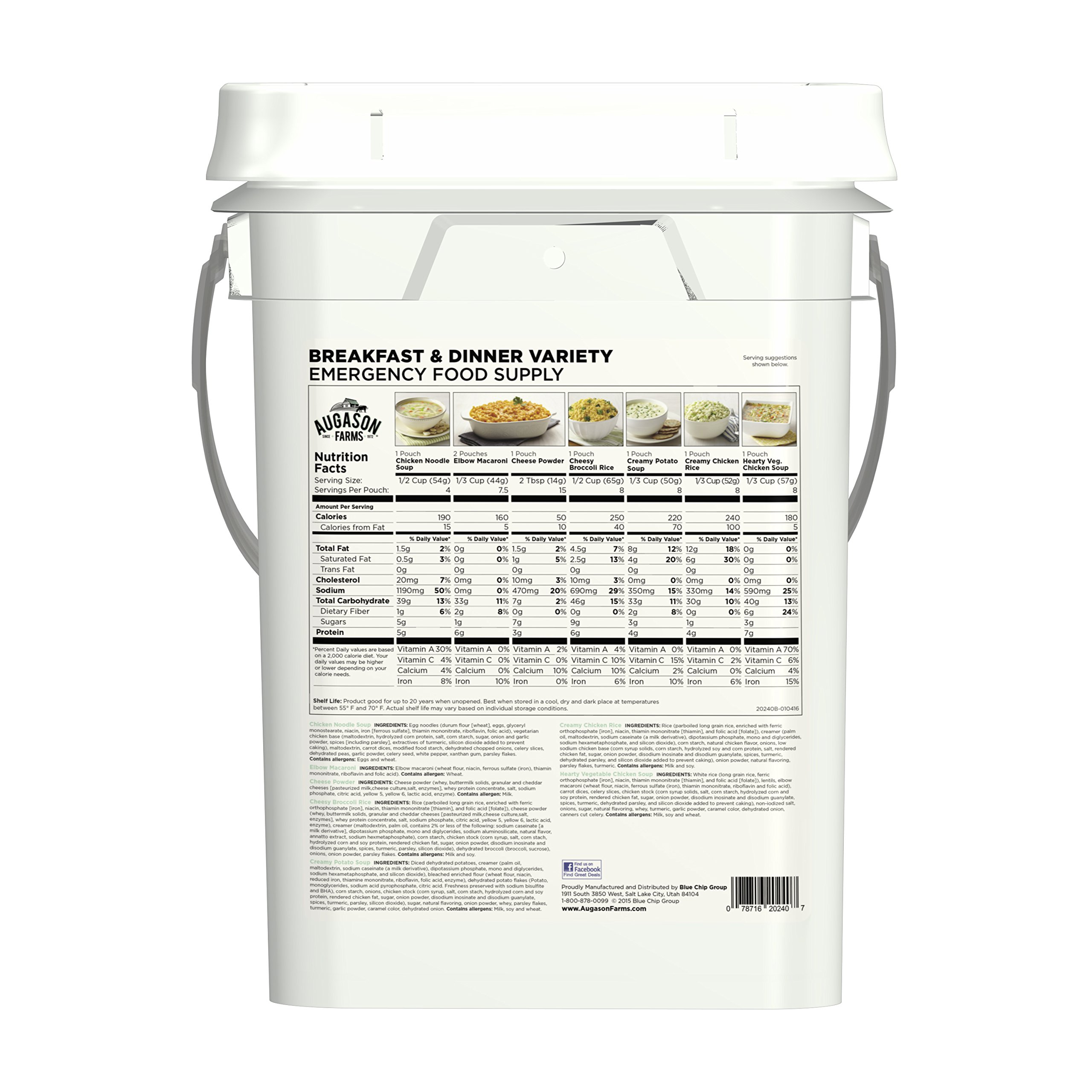 Augason Farms Breakfast & Dinner Variety Emergency Food Supply 7 lbs 5.21 oz 4 Gallon Pail by Augason Farms (Image #2)