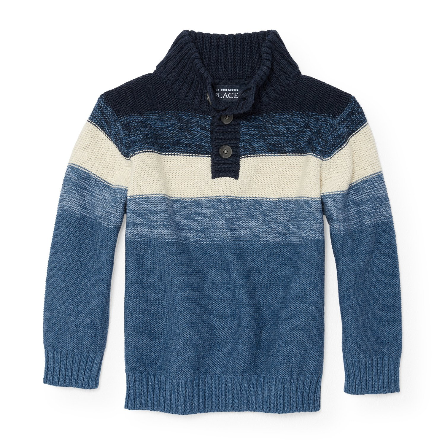 The Children's Place Boys' 1/2 Zip Engineered Stripe Sweater, Tidal 87563, 18-24MONTH