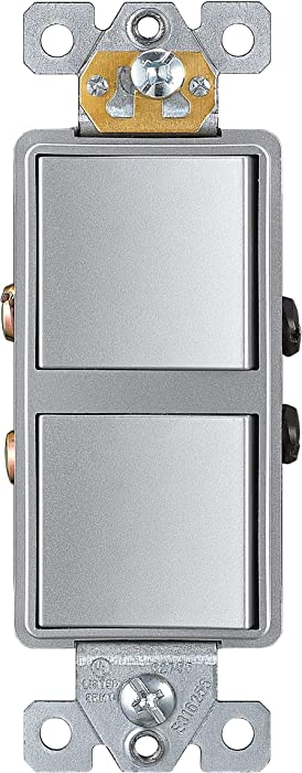 ENERLITES Double Paddle Rocker Decorator Switch, Ground terminal, Clamp-Type Back Insert Wiring, Copper Wires Only, Single Pole, Residential Grade, 15A 120-277VAC, 62834-SV, Silver