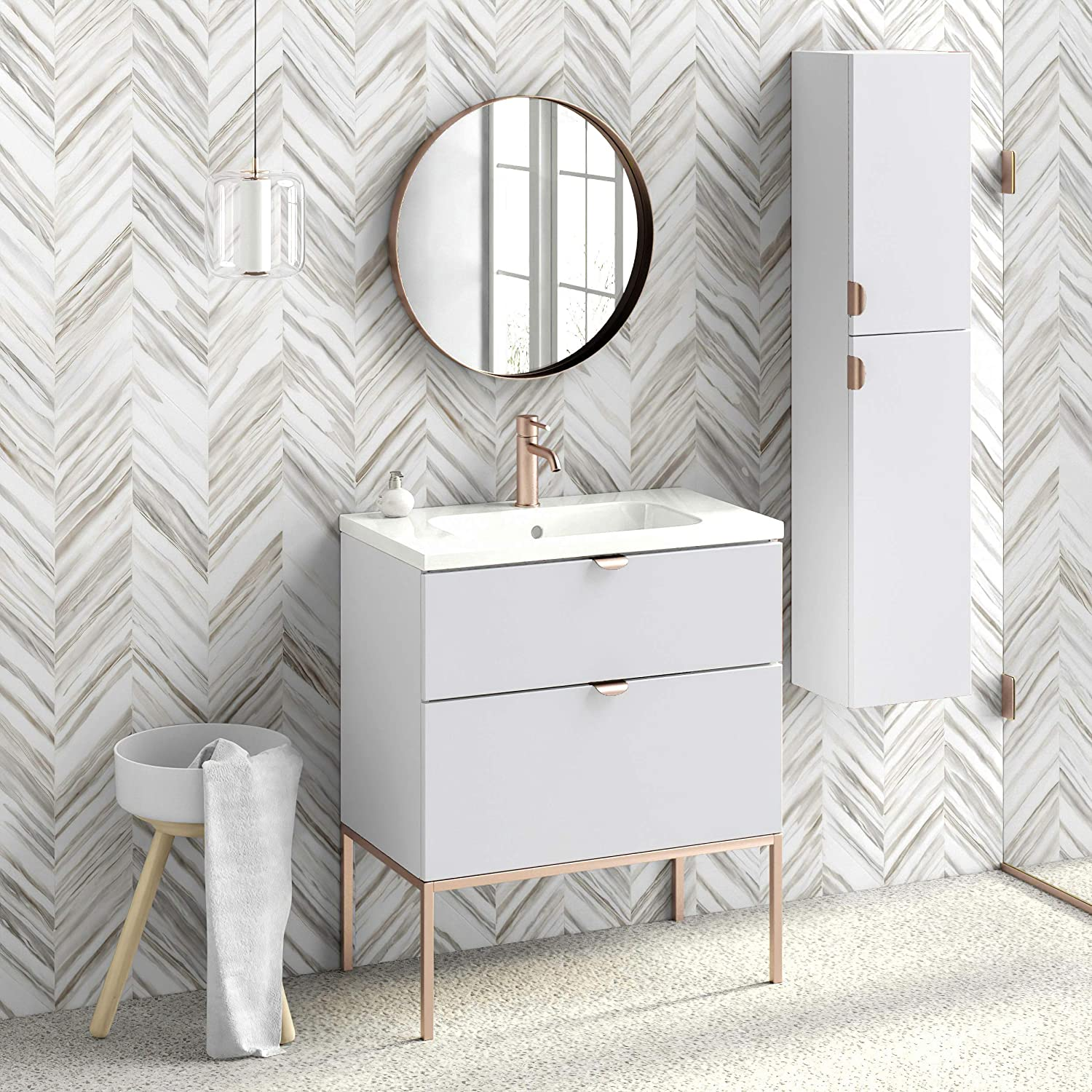 Amazon Com Aspen 32 Bathroom Vanity Cabinet And Sink 32 X35 X18 White Rose Gold Kitchen Dining