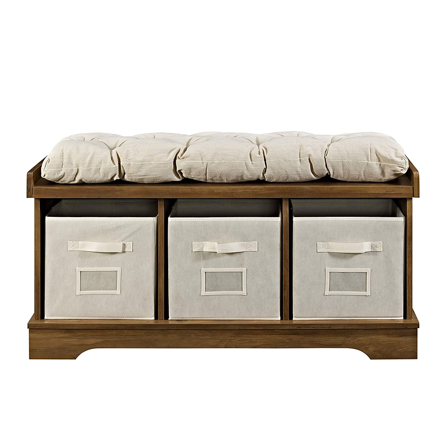 Brown Reclaimed Barnwood Walker Edison Modern Farmhouse Entryway Shoe Storage Bench Totes Upholstered Cushion Hallway Organizer 42 Inch Storage Benches Home Kitchen