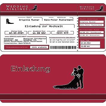 Einladungskarten Hochzeit Flugticket Eintrittskarte Einladung Ticket   20  Stück