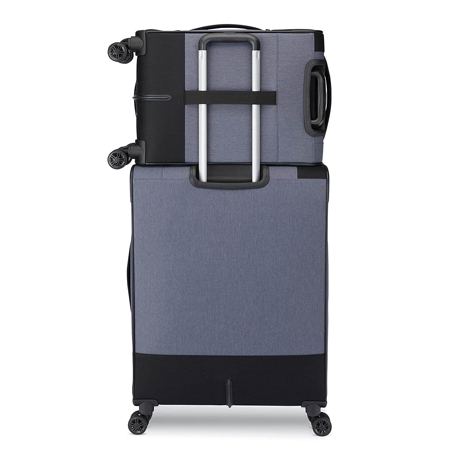 Heather Grey//Black American Tourister Istack Travel System Softside 2-Piece Setwith Double Air Flow Spinner Wheels