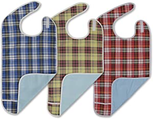 Modaliv Adult Bibs (3 Pack) - Reusable Clothing Protector - Waterproof - Crumb Catcher - Machine Washable