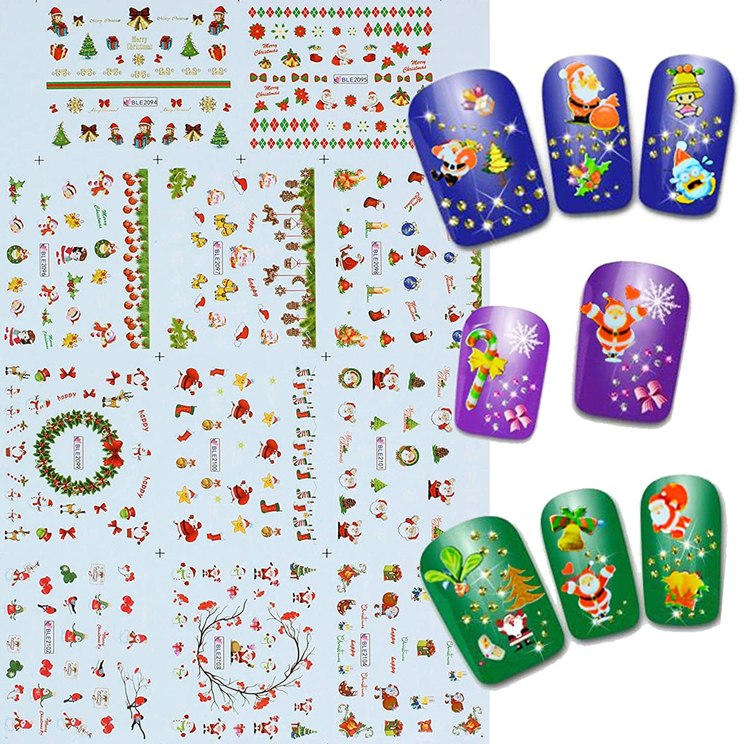 eshion Christmas Stamping Decal Stickers Nail Art Manicure Tips DIY Decoration