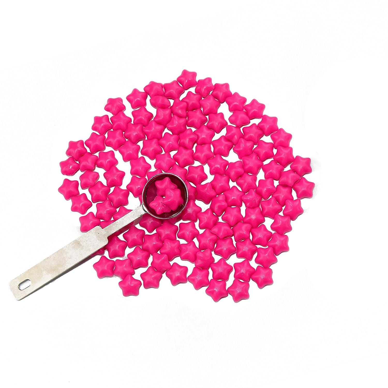 Rose 70g Vintage Retro Sternform Siegellack Perlen Set mit Schmelzl/öffel