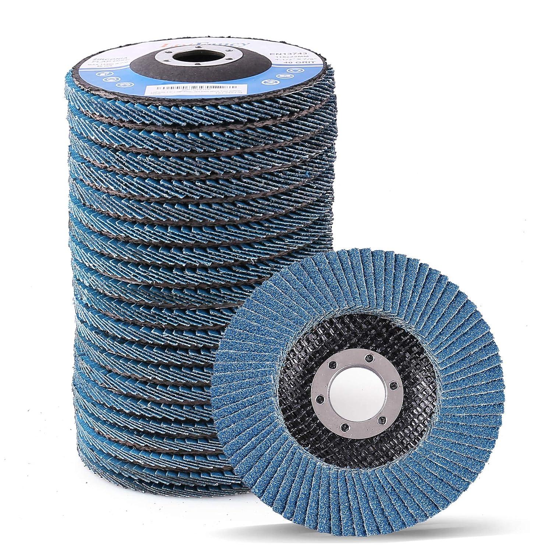4.5 Inch Flap Discs - 20PCS 40 60 80 120 Grit Assorted Sanding Grinding Wheels, Premium Zirconia Alumina Abrasives, T27, by LotFancy
