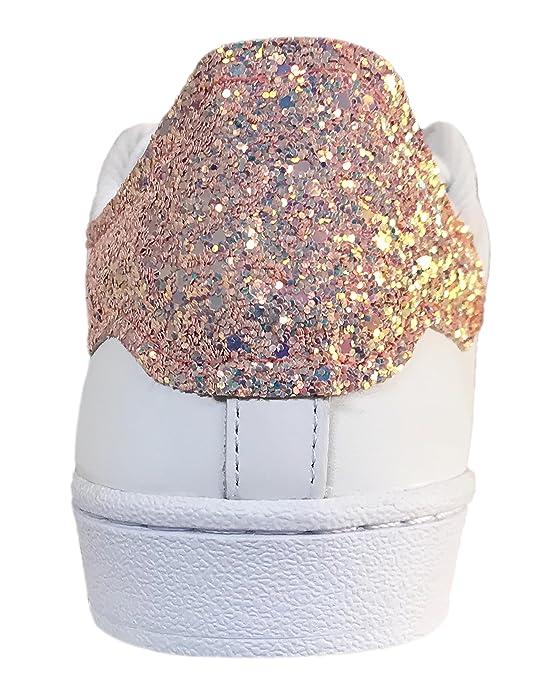 Superstar bianche con glitter cipria mixcolor e borchie cono