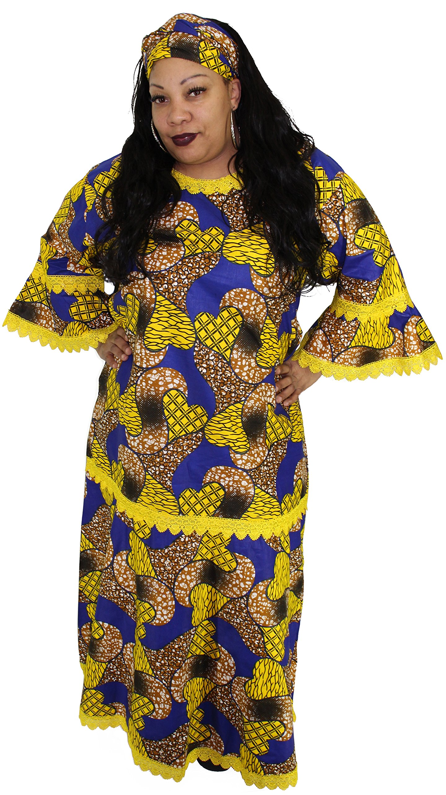 African Planet Women's Dress Queen Wedding Inspired Maxi with Gele headwrap (Blue and Yellow)