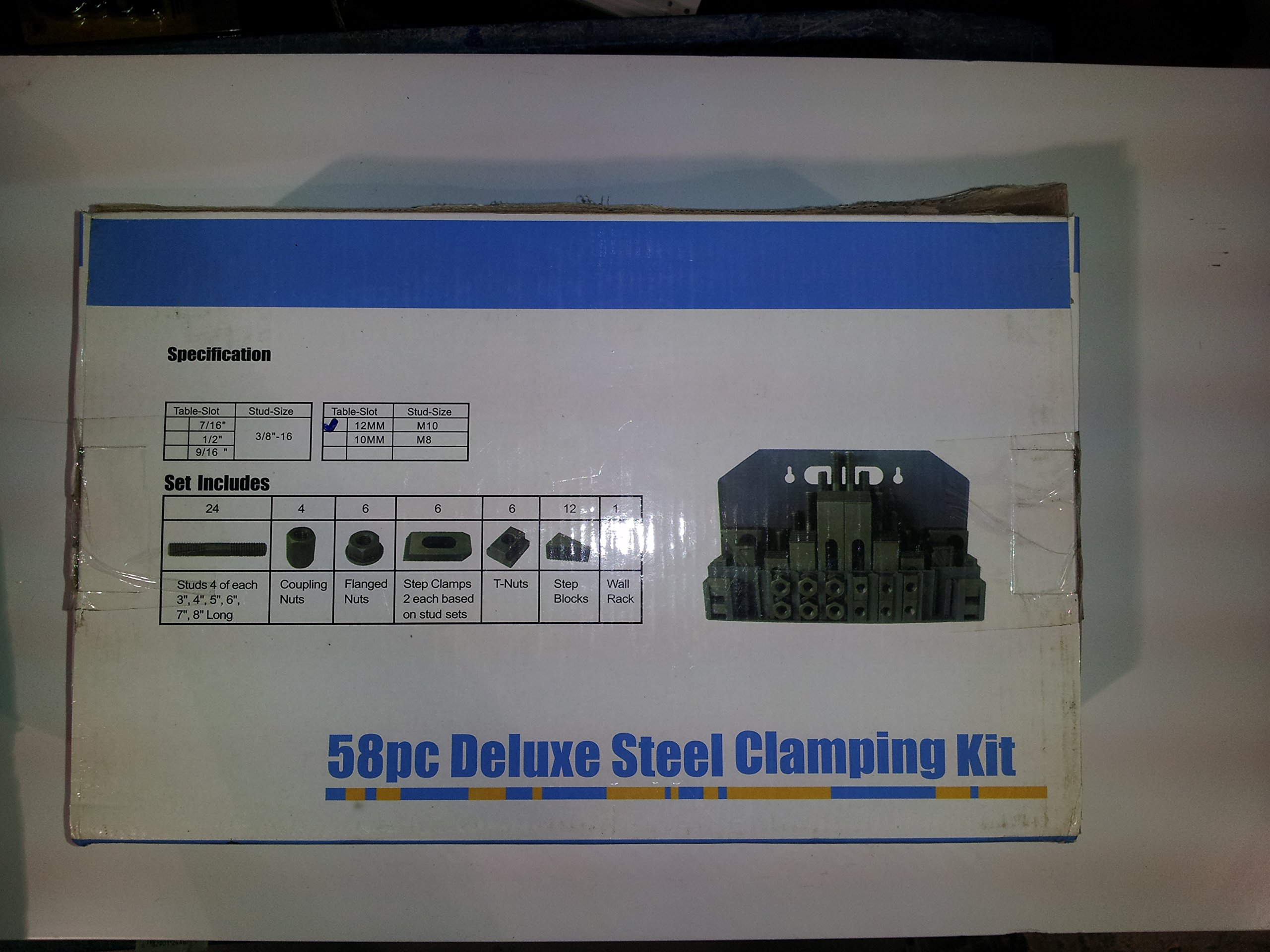 58 Pcs Deluxe Steel Clamping Kits 5/8 T-slots , 1/2'' Bolt Size , 24 Studs, 6 Step Block Pairs, 6 T-nuts,6 Flange Nuts,Step Blocks,Step Clamps and Mounting Rack