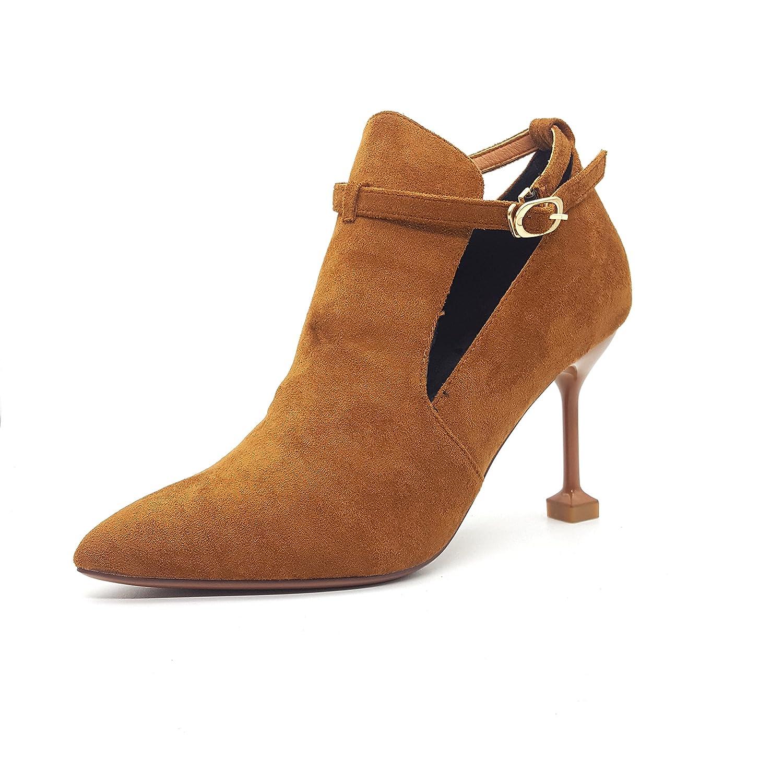 KPHY-Sexy geschlitzten Satin Befestigungen Deep-Schuhes Spitze Satin geschlitzten Fein mit high-heeled Stiefel mit nackten weiblichen Katzen.  Caramel 15e2ef