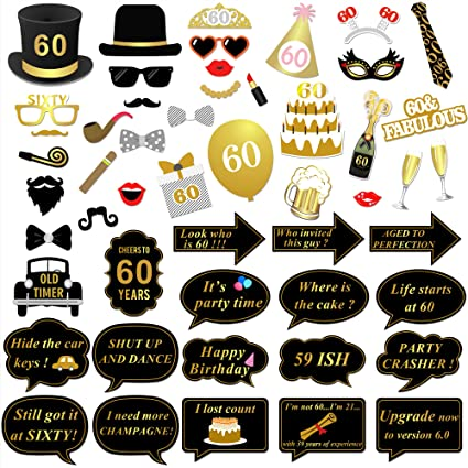 Konsait 60.os cumpleaños Photo Booth Props Fotos Accesorios (51 Piezas) para 60 cumpleaños Decoracion de Oro y Negros 60 Años de Antigüedad Fiesta de ...