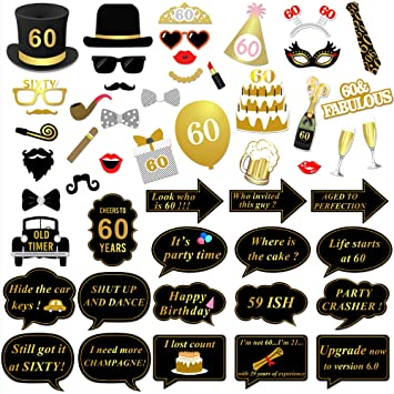 60th Birthday Party Photo Booth Props 51Pcs For Her Him Gold And