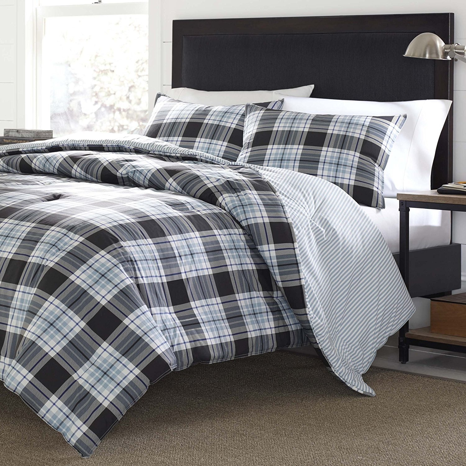 3pc Blue Grey Black Madras Plaid Striped Duvet Cover King Set, Patchwork Checkered Stripe Bedding, Country Woven Pattern, Tartan Check Patch Work Lodge Cabin Stripes Themed, Gray White