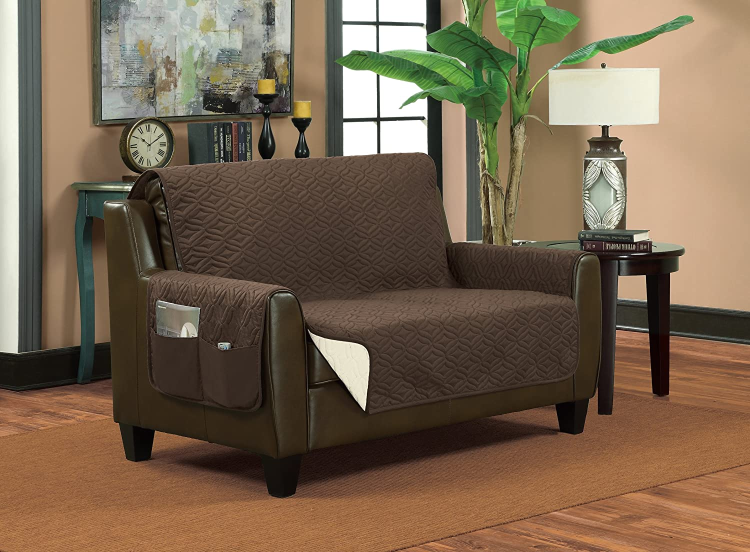 Bella Kline Reversible Sofa Furniture Protector, with 2 Storage Pockets - Mocha/Tan