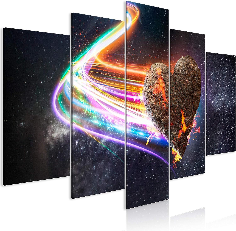 murando Cuadro Acústico Abstracto 200x100 cm XXL Impresión 5 Piezas Artística Lienzo de Tejido no Tejido Decoración de Pared Aislamiento Absorción de Sonidos Meteorito Tierra Cosmos n-A-1027-b-n