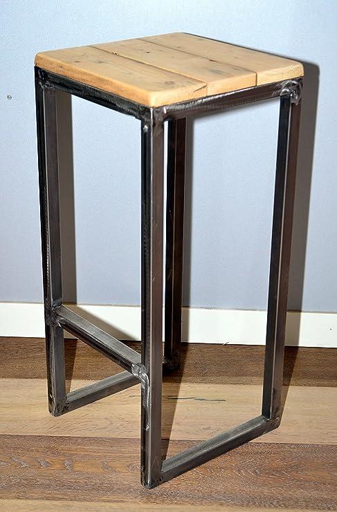 Sedie Legno E Ferro.Sgabello Puff Pouf Sedia In Legno Ferro Industriale Design Casa Bar