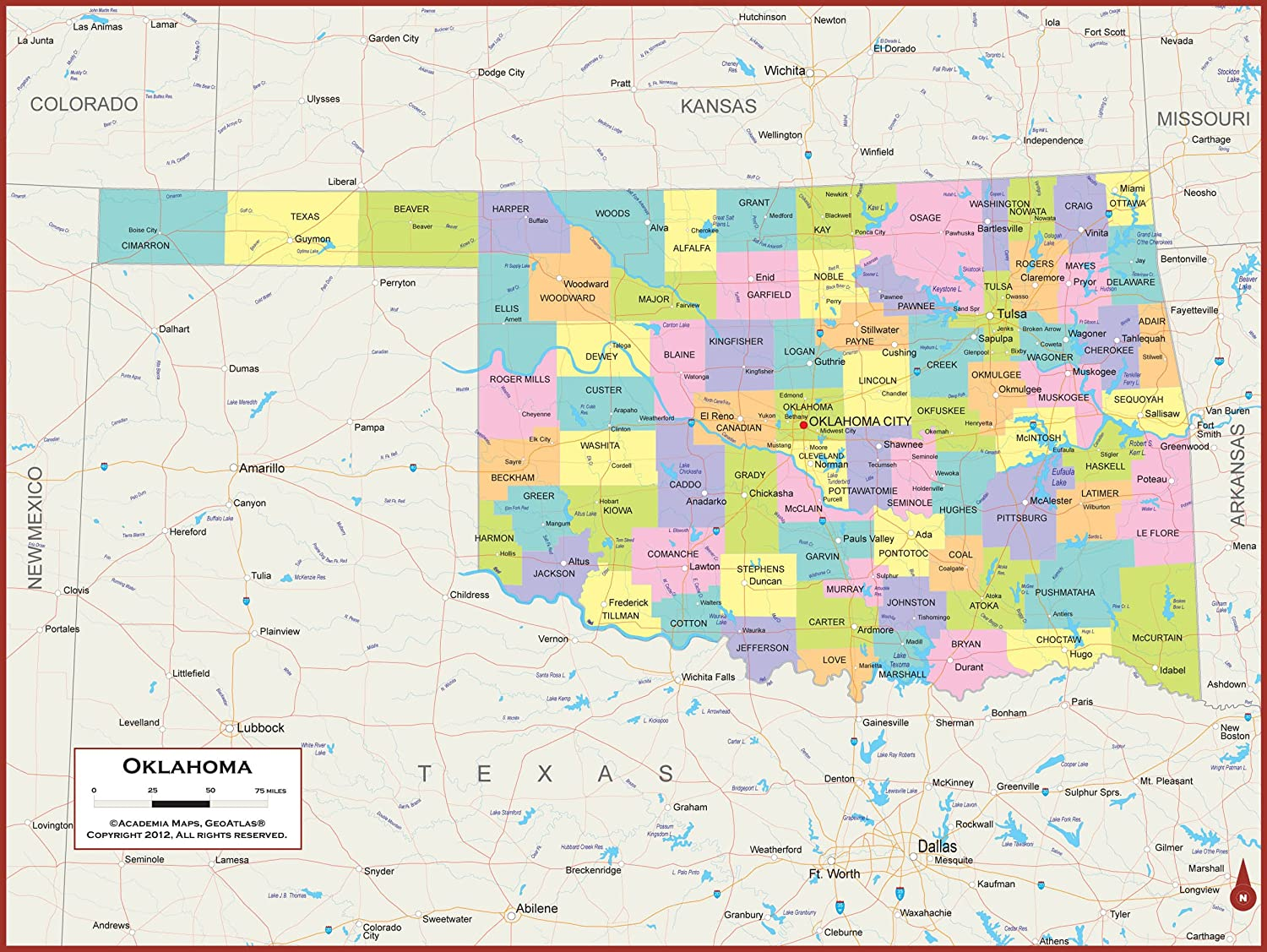 Amazon Com 60 X 45 Giant Oklahoma State Wall Map Poster With