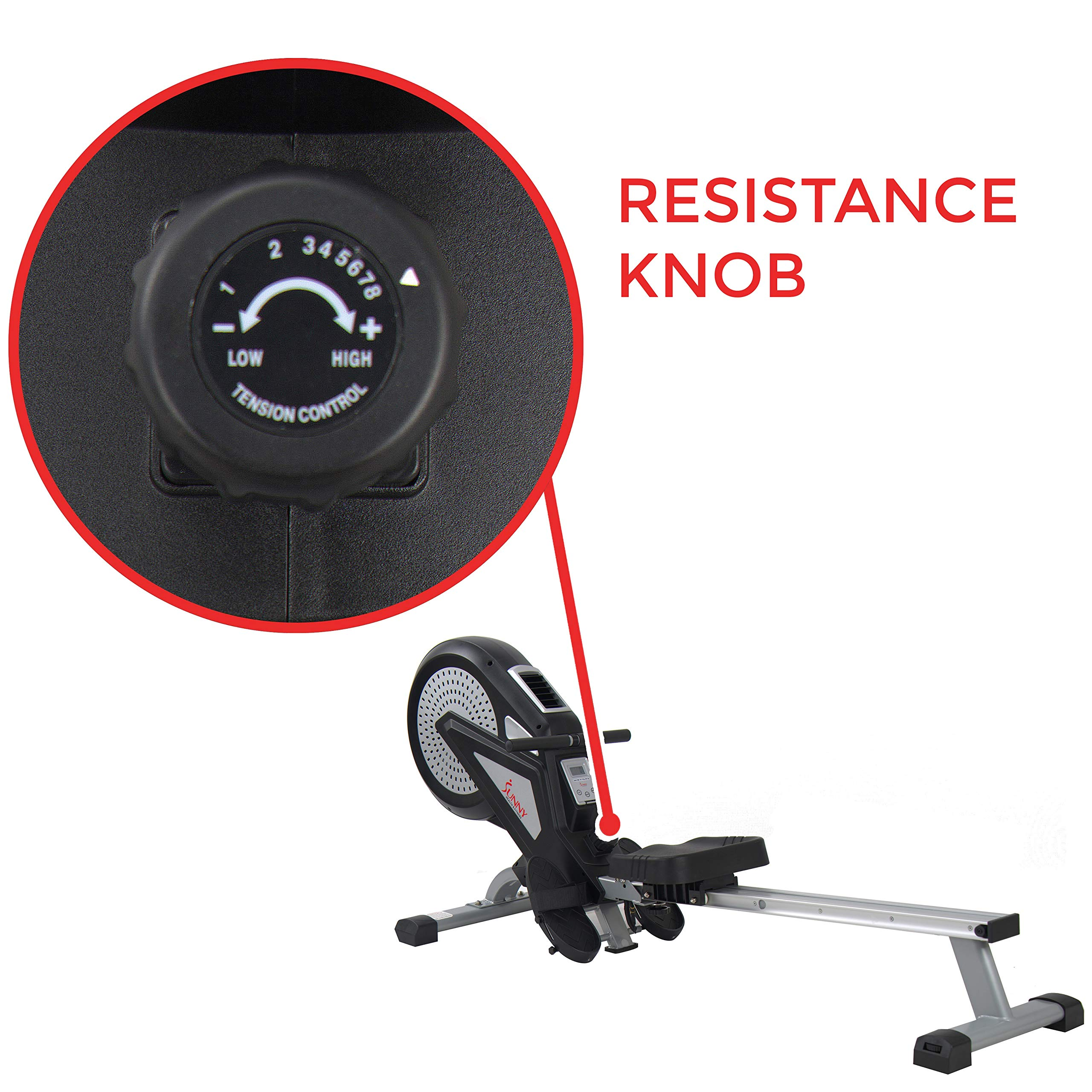 Sunny Health & Fitness Air Rower Rowing Machine w/ LCD Monitor, Dual Belt and Air Resistance SF-RW5623 by Sunny Health & Fitness (Image #6)