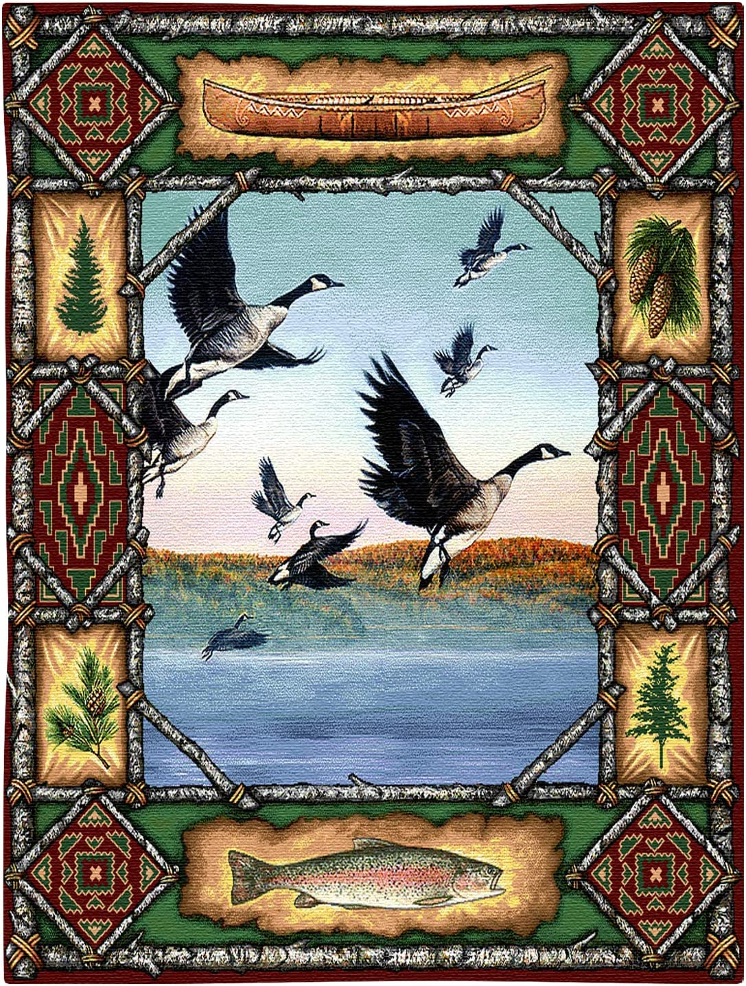 Geese Lodge   Woven Tapestry Wall Art Hanging   Rustic Hunting Cabin Decor   100% Cotton USA Size 33x26