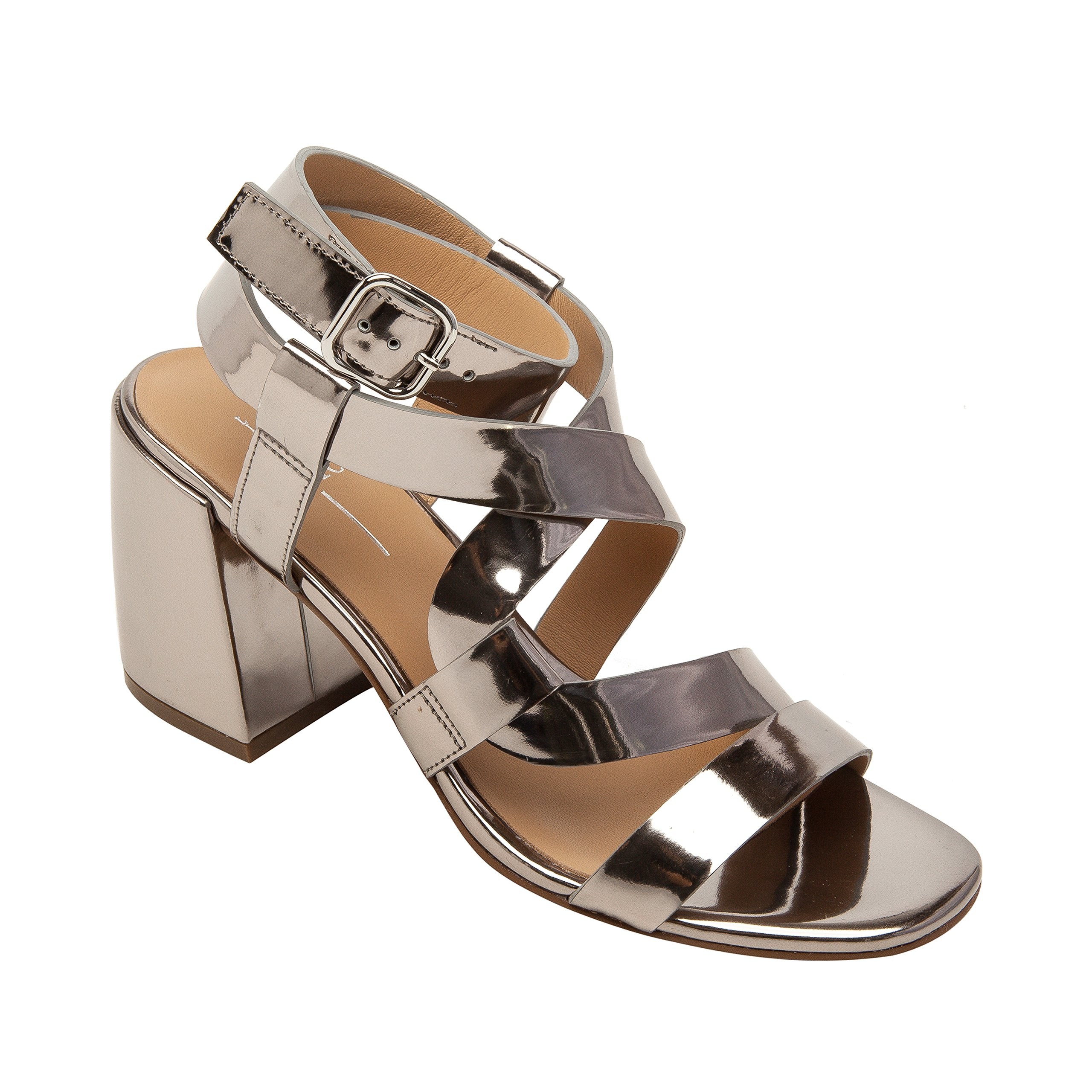 Linea Paolo Iris | Women's Leather Serpentine Ankle Strap Comfortable Block Heel Sandal (New Spring) Silver Leather 8.5M